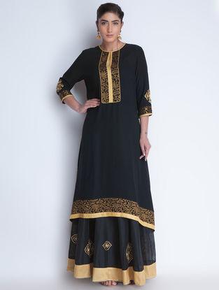 Black-Golden Brocade & Zari Embroidered Georgette Asymmetrical Kurta by Neemrana
