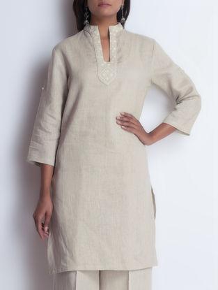 Beige Embroidered Linen Kurta by Neemrana