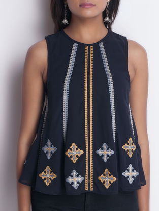 Navy Embroidered Sleeveless Asymmetrical Georgette Top by Neemrana