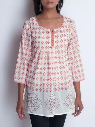 Ivory-Orange Hand Block Printed Pintuck Detailed Cotton Tunic by Neemrana