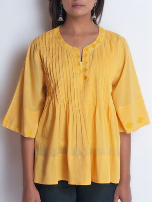 Yellow Embroidered & Pintuck Detailed Cotton Top by Neemrana