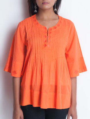 Coral Embroidered & Pintuck Detailed Cotton Top by Neemrana