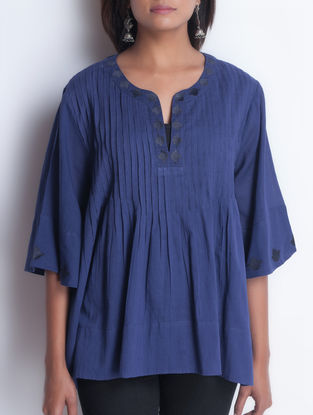 Blue Embroidered & Pintuck Detailed Cotton Top by Neemrana