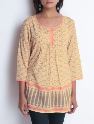 Beige Hand Block Printed Pintuck Detailed Cotton Tunic by Neemrana