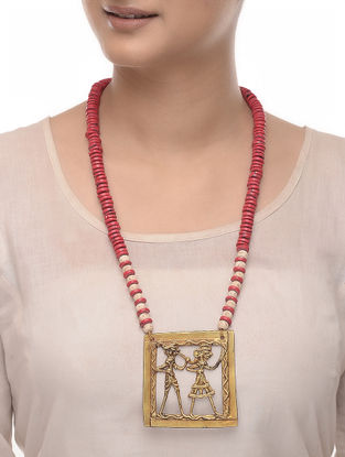 Coral-Beige Tulsi Wood and Brass Beaded Necklace