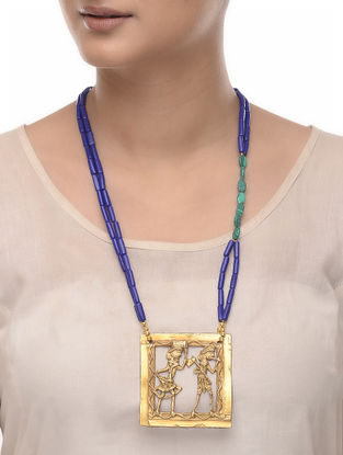 Blue-Green Lapis and Malachite Brass Necklace