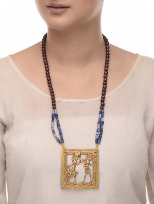 Blue Lapis Ebony Wood and Brass Beaded Necklace