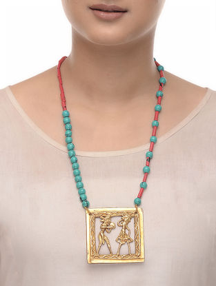 Coral and Turquoise Brass Beaded Necklace
