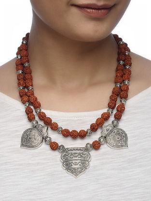 Brown Panchmukhi Rudraksha Beaded Necklace