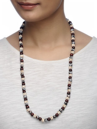Brown-White Hand-painted Tulsi Wood and Ebony Wood Beaded Necklace