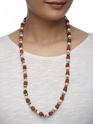 Brown-White Tulsi Wood and Ebony Wood Beaded Panchmukhi Rudraksha Necklace