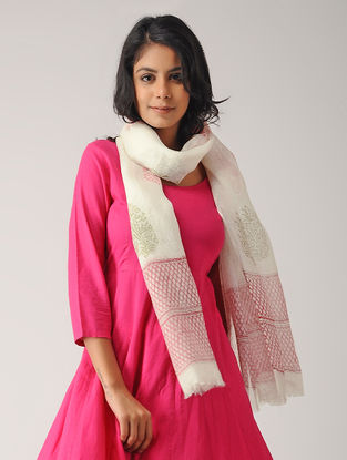 Ivory-Pink Block-printed Linen Stole