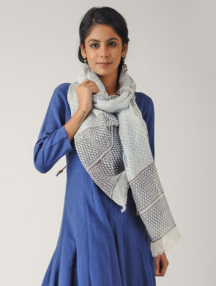 Ivory-Blue Block-printed Linen Stole
