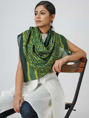 Green-Yellow Natural-dyed Block-printed Mul Cotton Stole