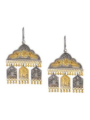 Dual Tone Silver Earrings with Deity Motif