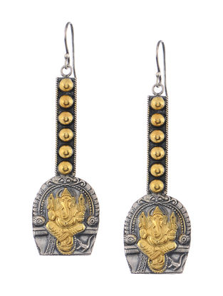 Dual Tone Silver Earrings with Lord Ganesha Motif