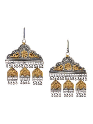Dual Tone Silver Earrings with Floral Motif