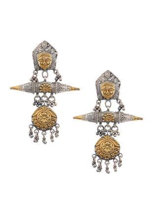 Dual Tone Silver Earrings with Goddess Durga Motif