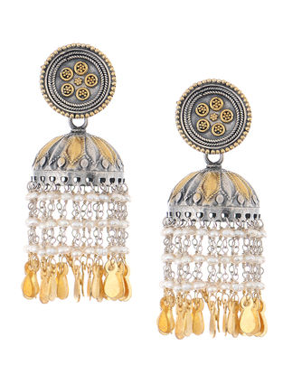 Dual Tone Silver Jhumkis with Pearls