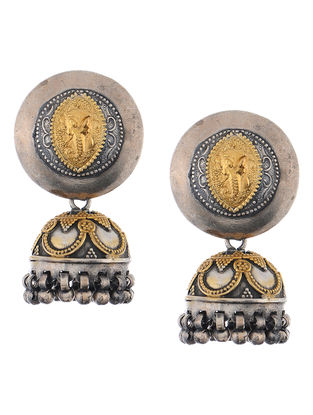 Dual Tone Silver Jhumkis with Lord Ganesha Motif
