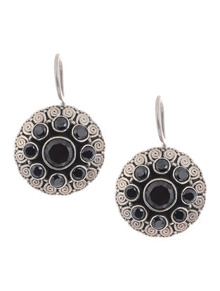 Black Silver Earrings with Filigree Work