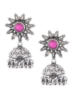 Pink Silver Jhumkis