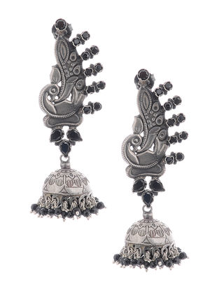 Black Silver Jhumkis with Peacock Design