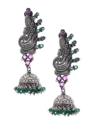 Pink-Green Silver Jhumkis with Peacock Design