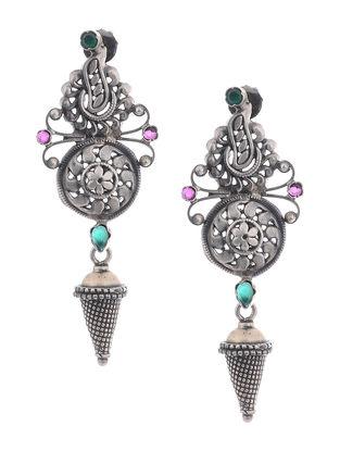 Pink-Green Silver Earrings