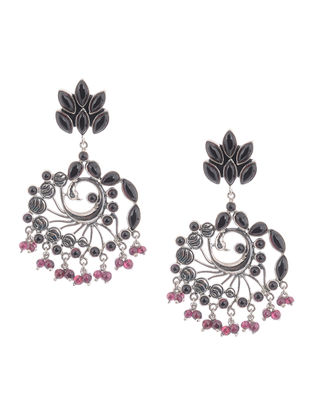 Garnet Silver Earrings with Peacock Design