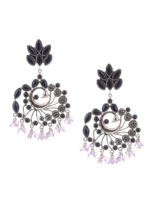 Amethyst Silver Earrings with Peacock Design