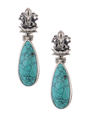 Turquoise Silver Earrings with Lord Ganesha Motif
