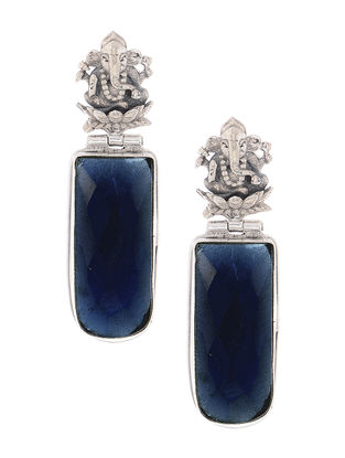 Blue Silver Earrings with Lord Ganesha Motif