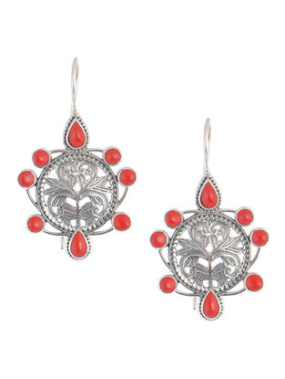 Red Silver Earrings