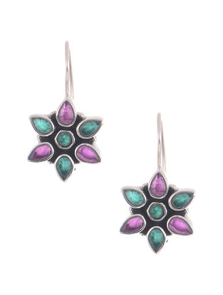 Purple-Green Silver Earrings with Floral Design