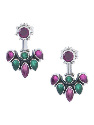 Purple-Green Silver Earrings