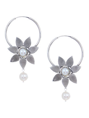 Pearl Silver Earrings with Floral Design