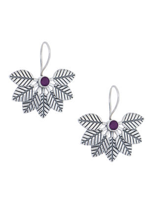 Purple Silver Earrings with Leaf Design