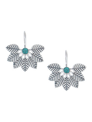 Turquoise Silver Earrings with Leaf Design
