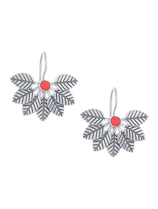 Red Silver Earrings with Leaf Design