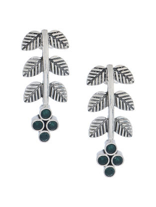 Green Silver Earrings with Leaf Design