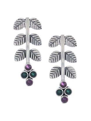 Purple-Green Silver Earrings with Leaf Design