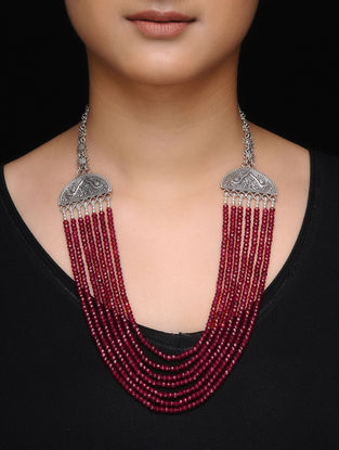 Spinel Ruby Beaded Silver Necklace