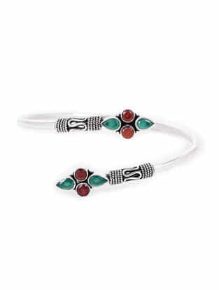 Red-Green Silver Cuff