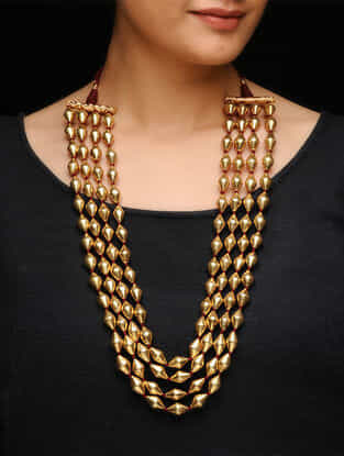 Gold Tone Silver Beaded Necklace