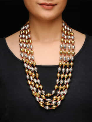 Dual Tone Silver Beaded Necklace