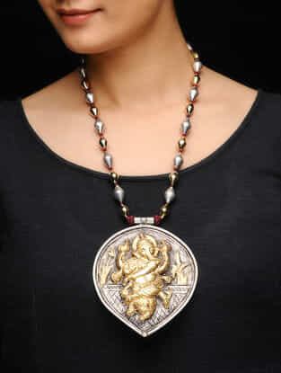 Dual Tone Silver Beaded Necklace with Lord Ganesha Motif