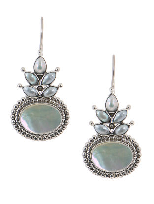 Aqua Silver Earrings with Pearls