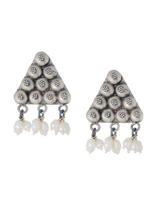 Pearl Tribal Silver Earrings