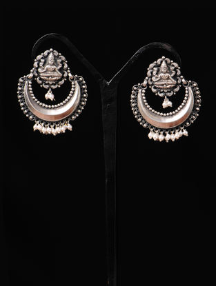Pair of Goddess Lakshami Silver Earrings